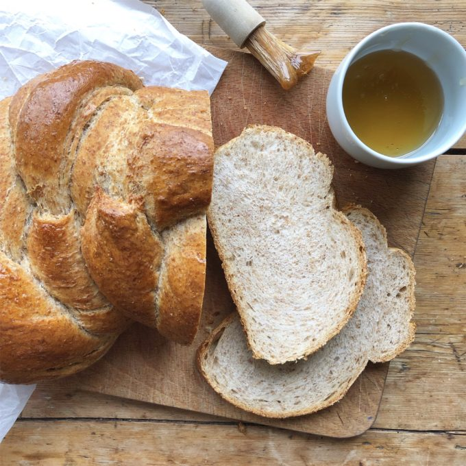 honey and wholemeal plaited loaf