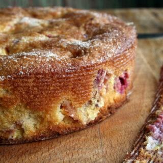 nectarine and raspberry cake