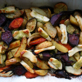 roast veg with haloumi