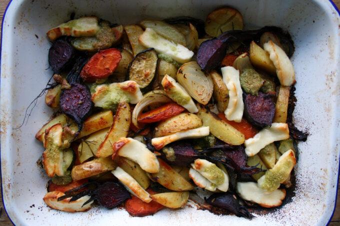 roast veg with haloumi