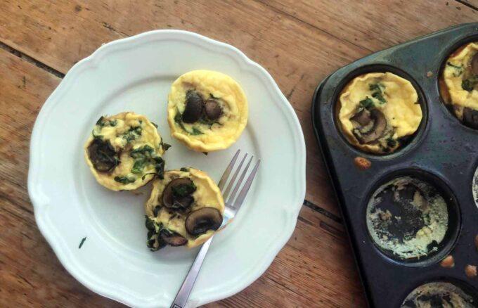 mushroom and kale baked eggs