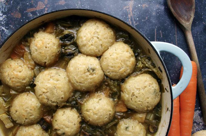 vegetable stew and dumplings