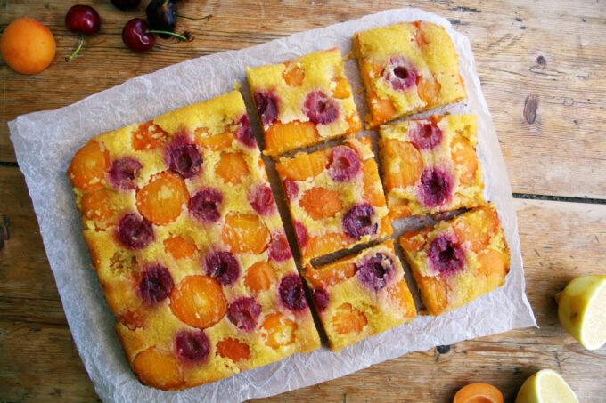 cherry and apricot traybake