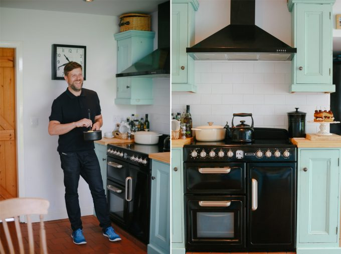 Dominic in his kitchen with his range cooker