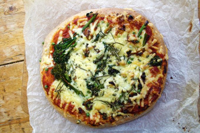 pea and broccoli pizza